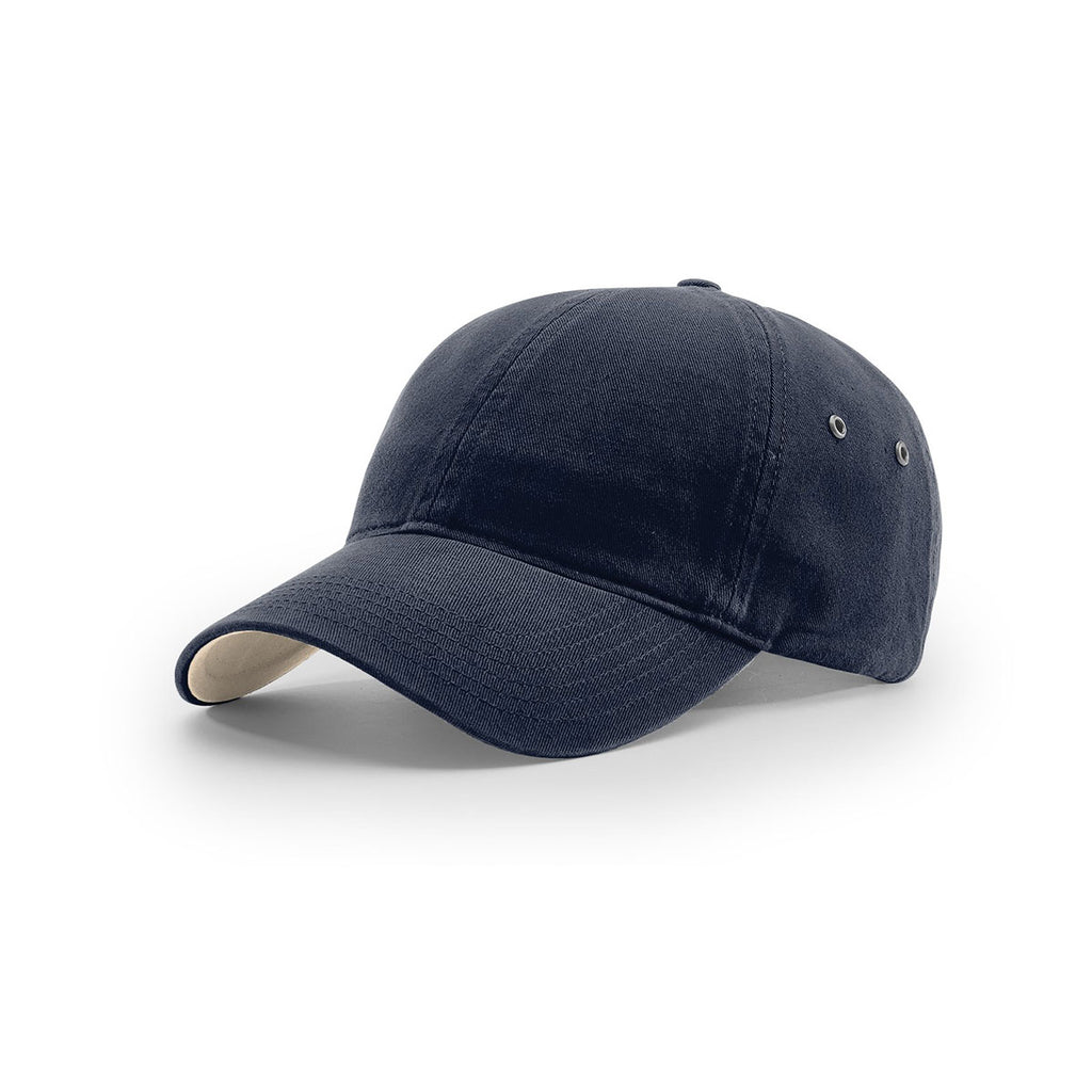 5898a2f51df82 Richardson Navy Lifestyle Unstructured Washed Chino Polo Cap