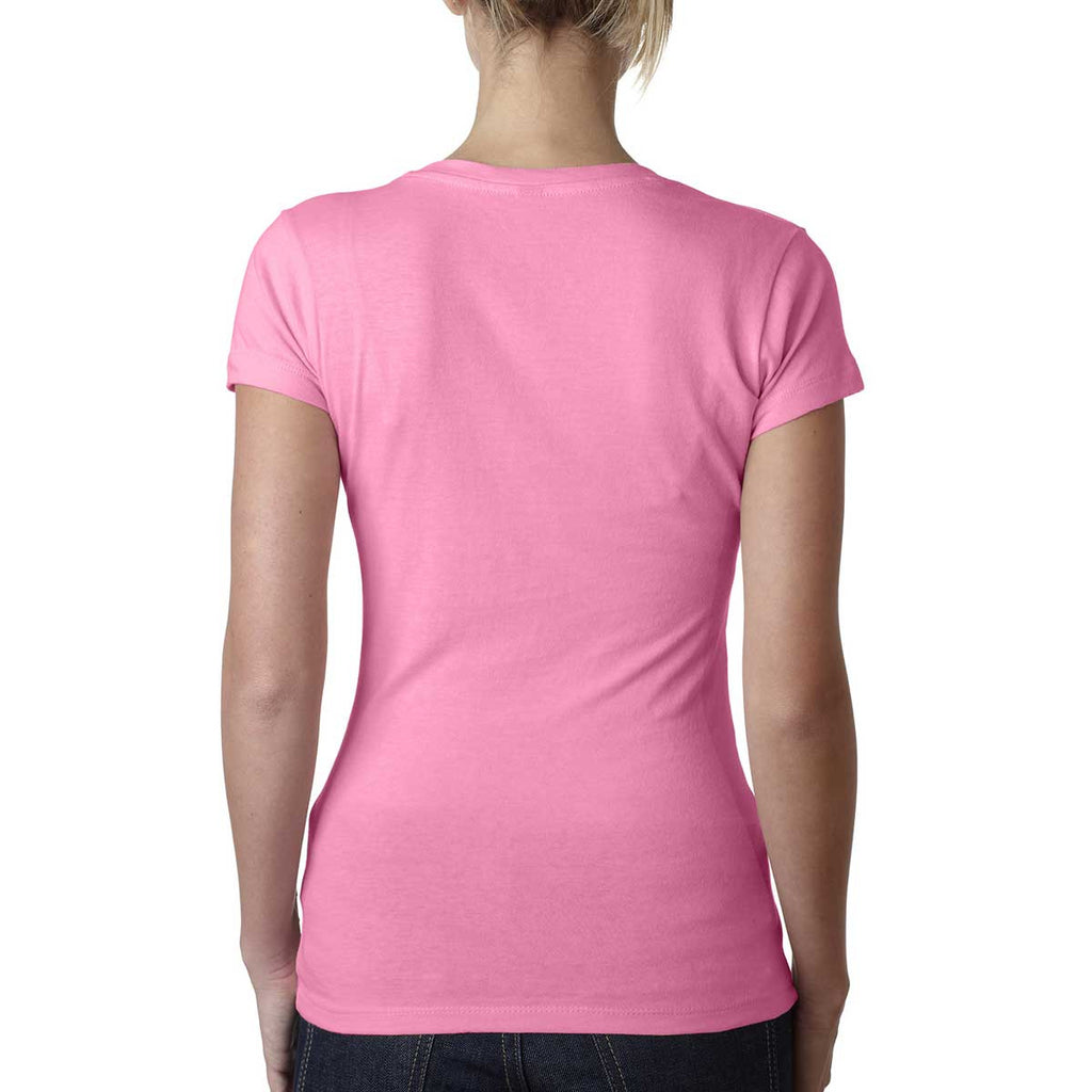 Next Level Women's Neon Heather Pink Sporty V-Neck Tee