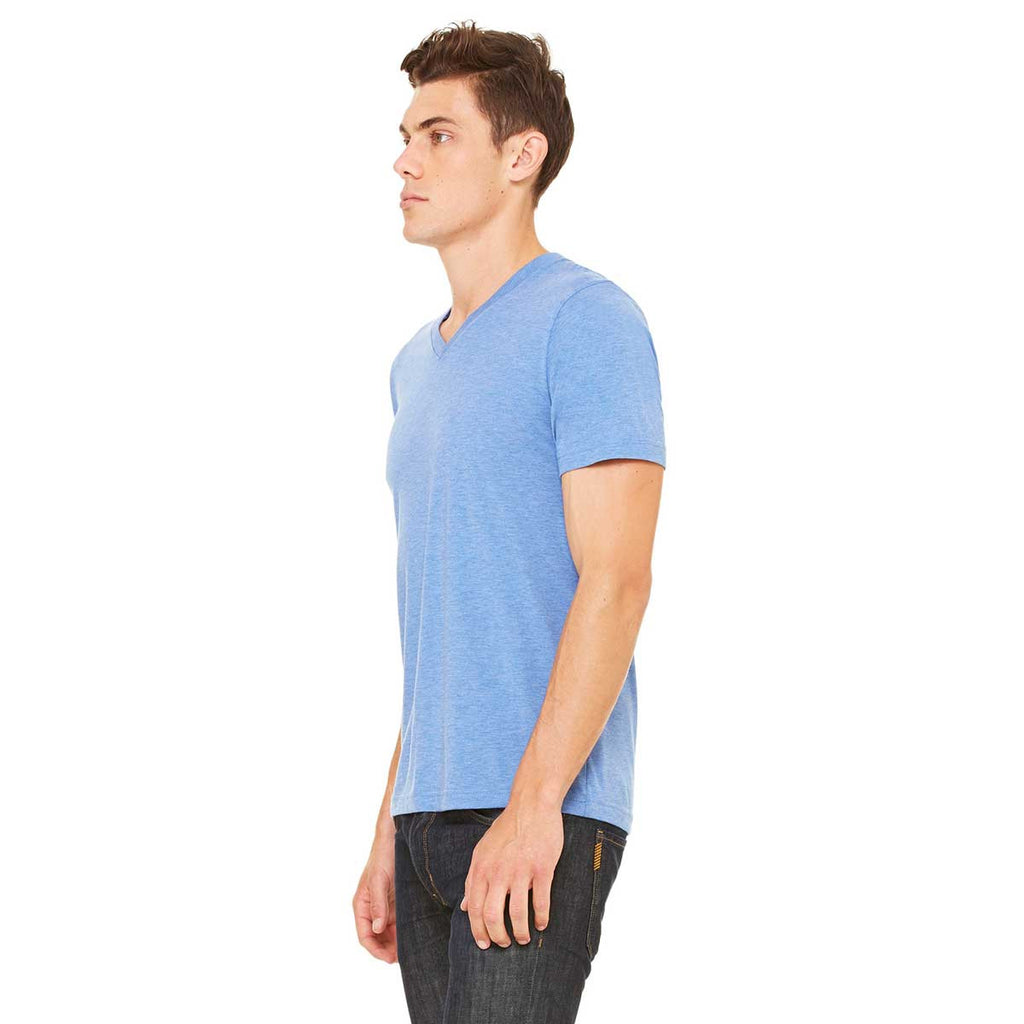 Bella + Canvas Unisex Blue Triblend Short-Sleeve V-Neck T-Shirt