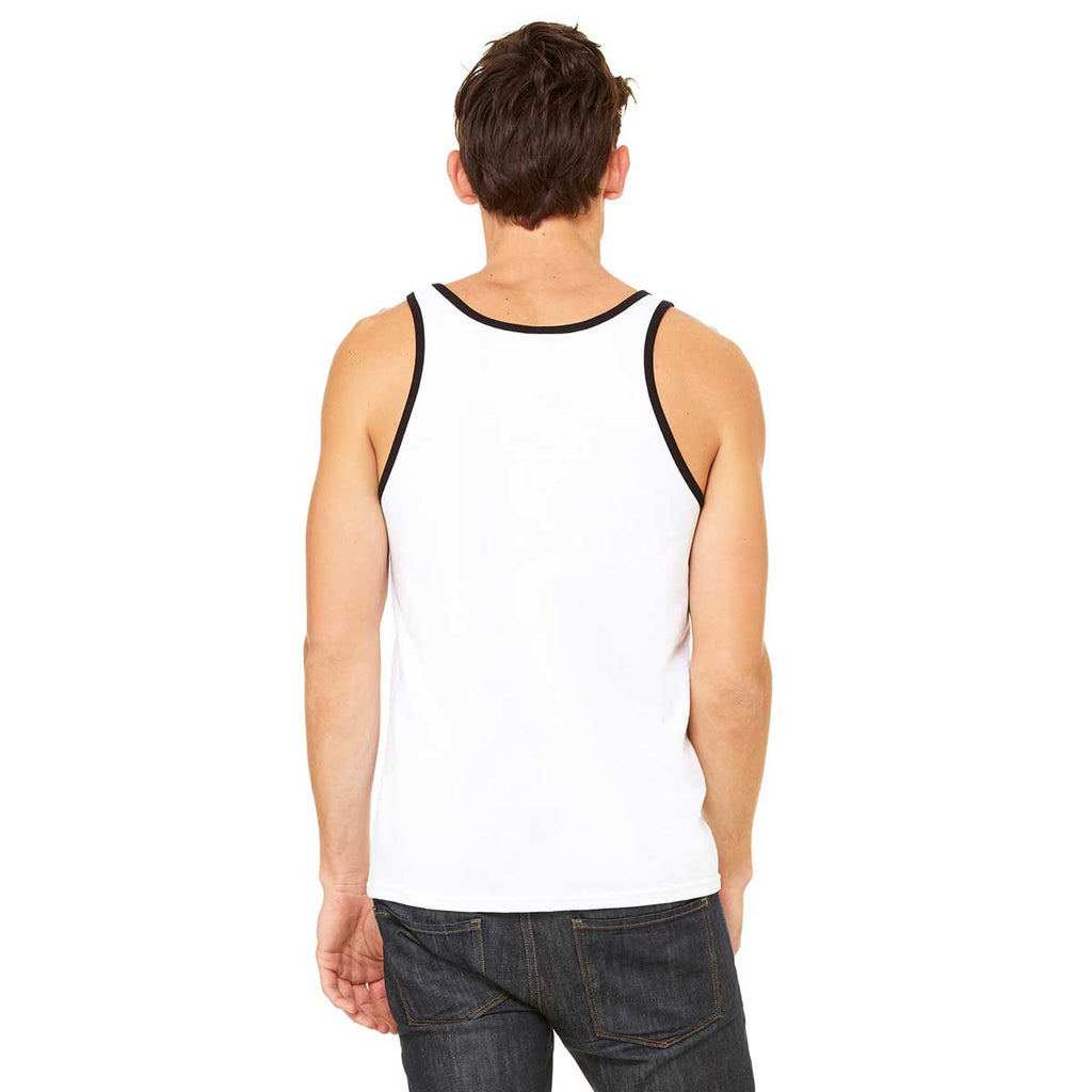 Bella + Canvas Unisex White/Black Jersey Tank