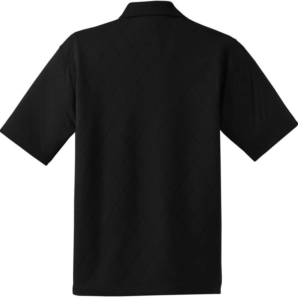Nike Men's Black Dri-FIT Short Sleeve Cross-Over Texture Polo
