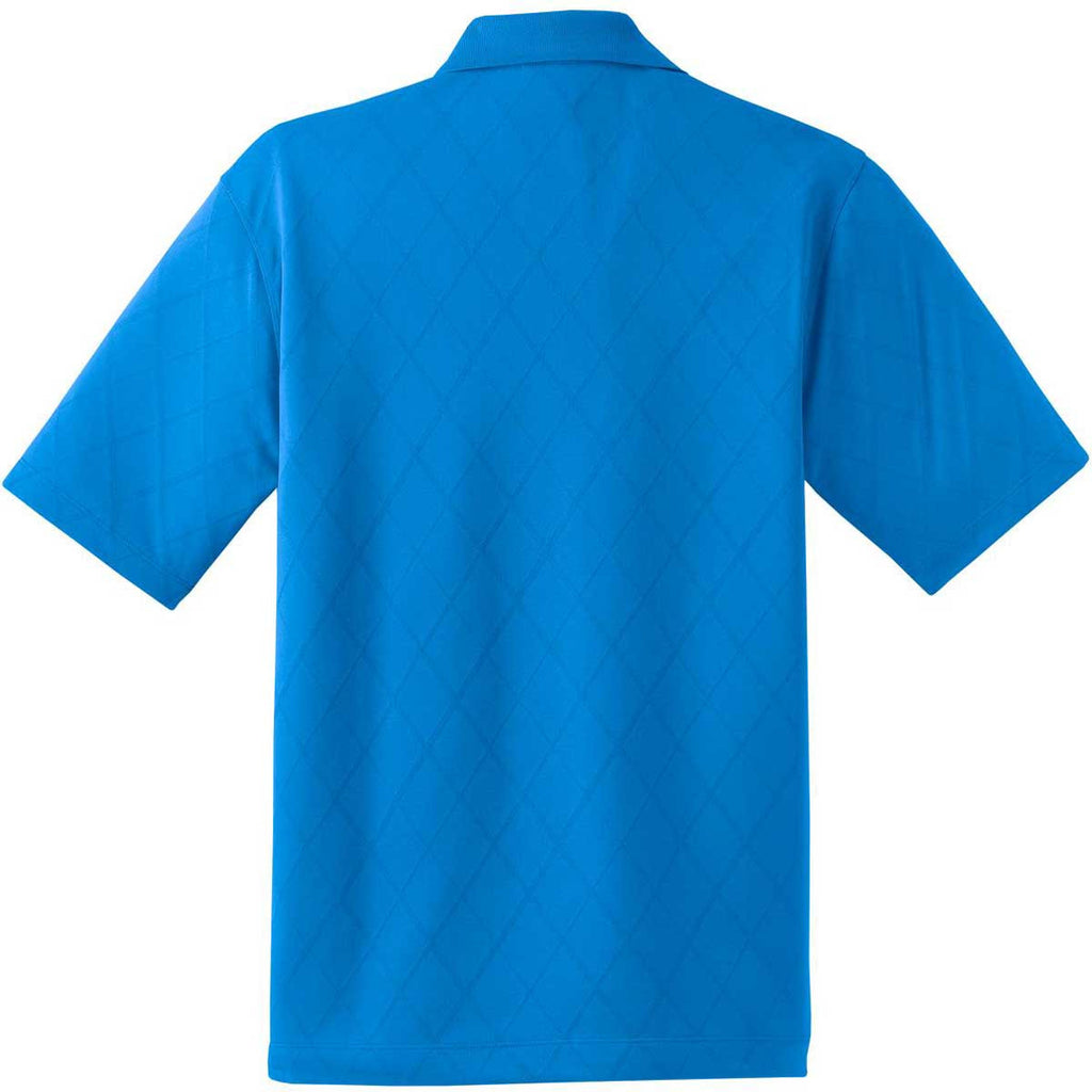 Nike Men's Blue Dri-FIT Short Sleeve Cross-Over Texture Polo