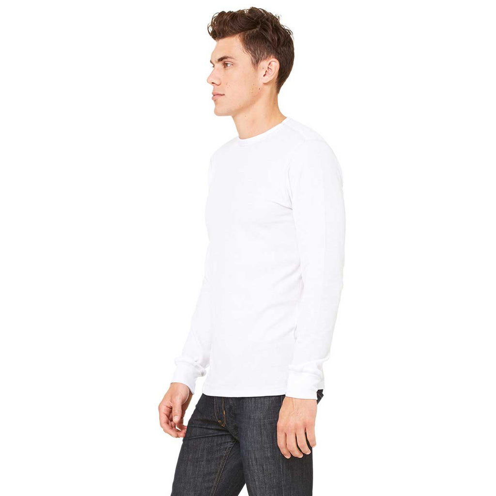 Bella + Canvas Men's White/Grey Thermal Long-Sleeve T-Shirt