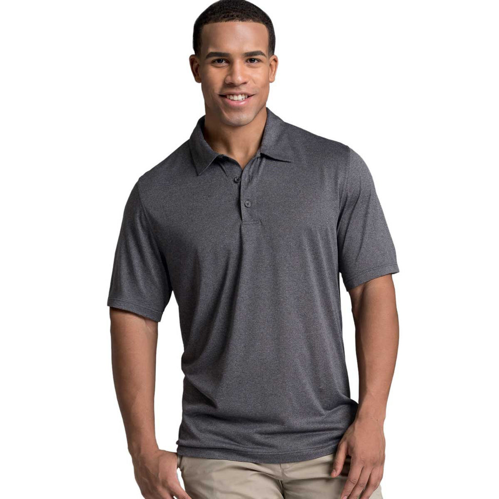 Charles River Men's Graphite Heather Heathered Polo