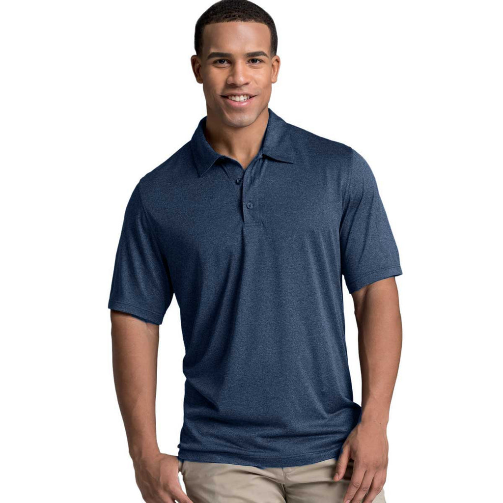 Charles River Men's Navy Heather Heathered Polo