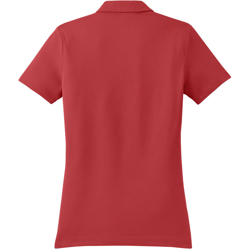 Nike Women's Red Sphere Dry Short Sleeve Diamond Polo