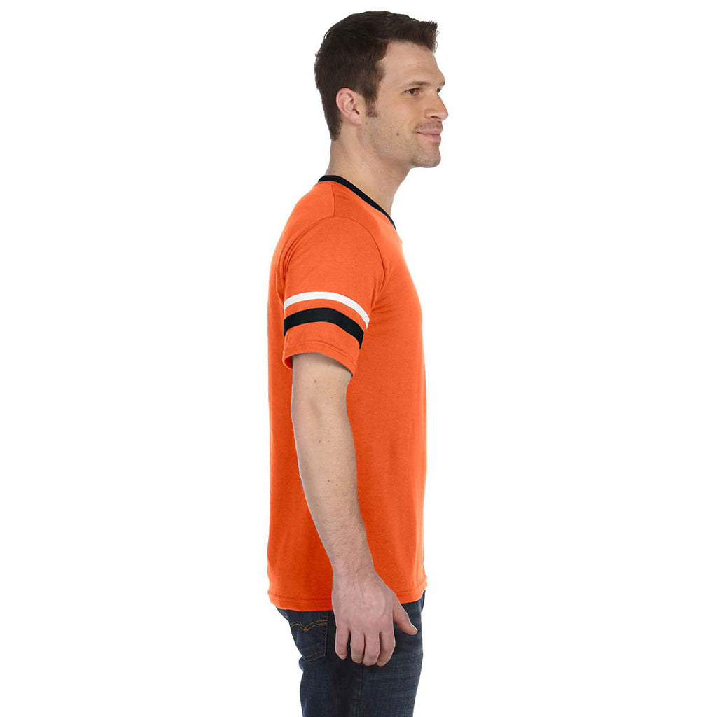 6bfeaf9fc1 Augusta Sportswear Men's Orange/Black/White Sleeve Stripe Jersey