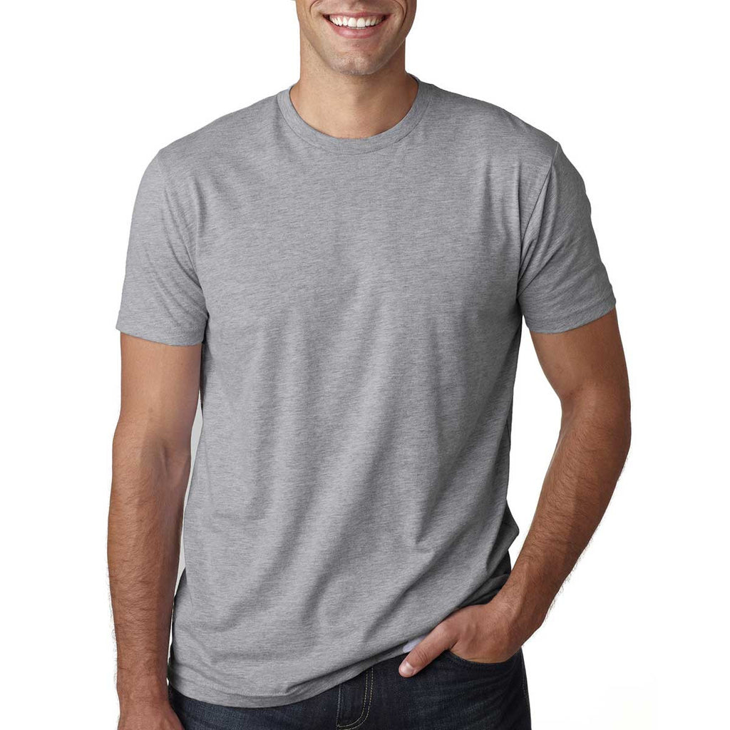 Next level men 39 s heather gray premium fitted short sleeve crew for Mens heather grey t shirt