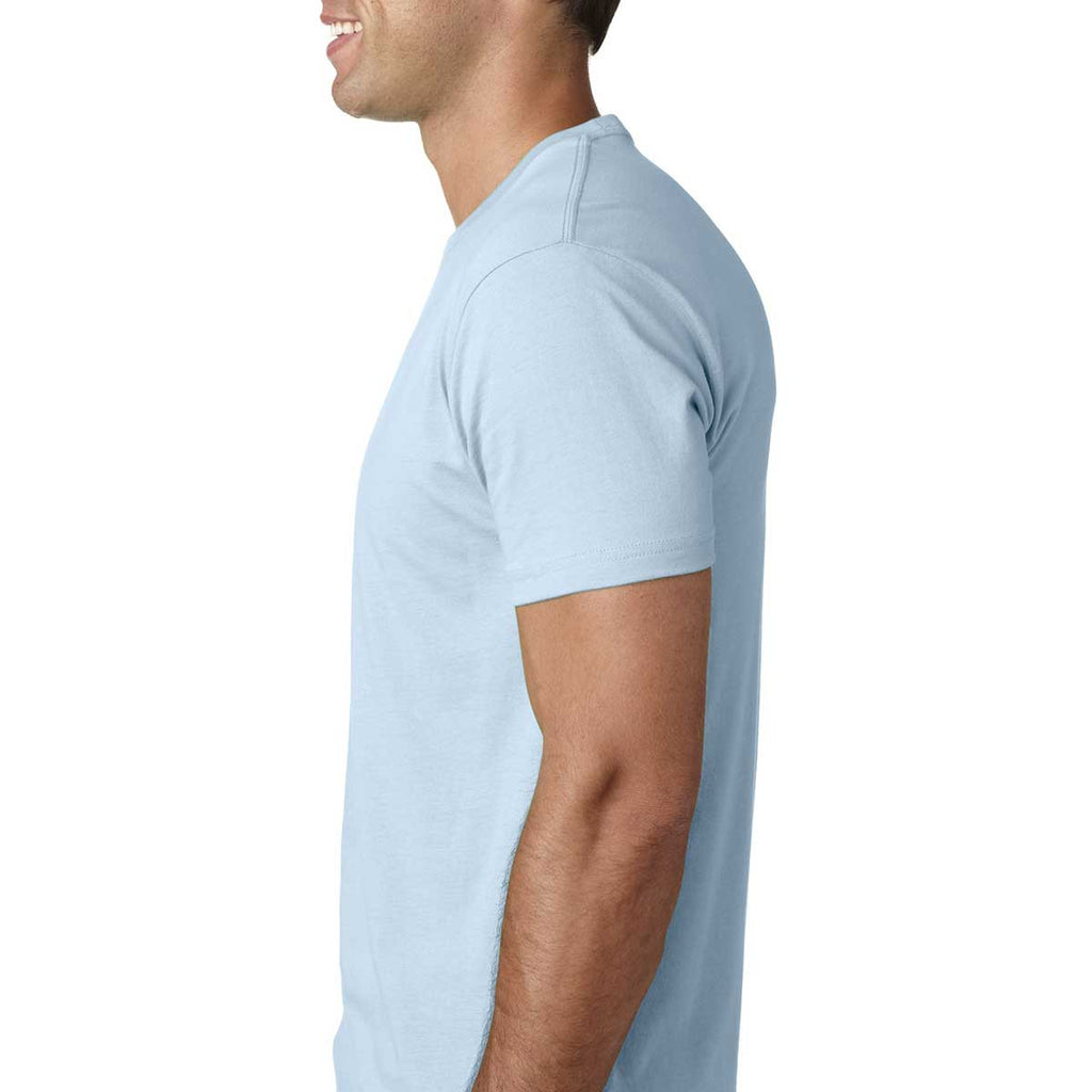 Size Large Next Level Mens Premium Fitted Short-Sleeve Crew Light Blue