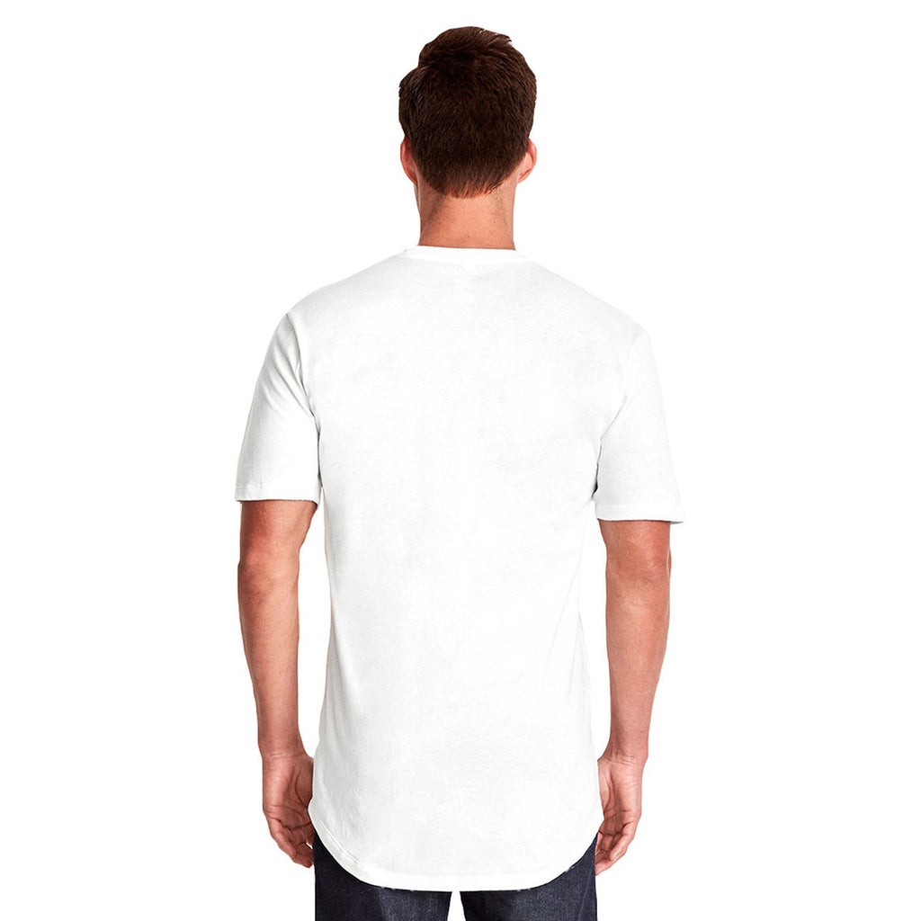 Next Level Men's White Cotton Long Body Crew