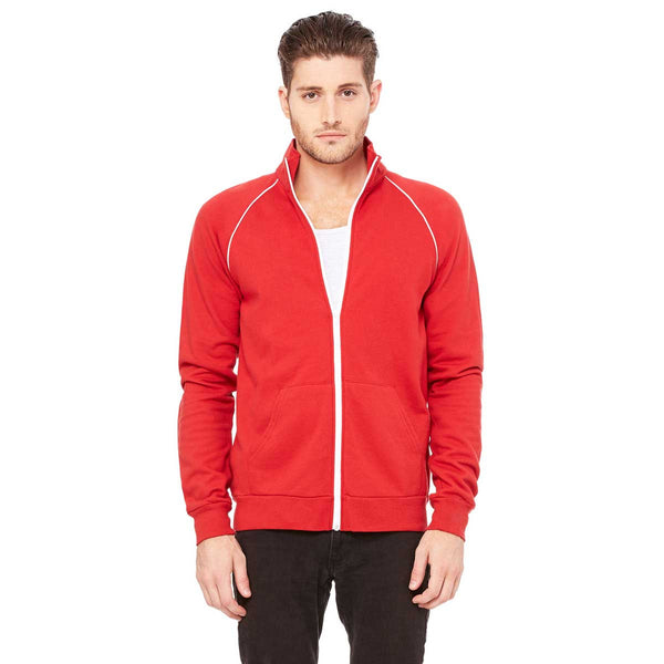 Bella Canvas Men S Canvas Red White Piped Fleece Jacket