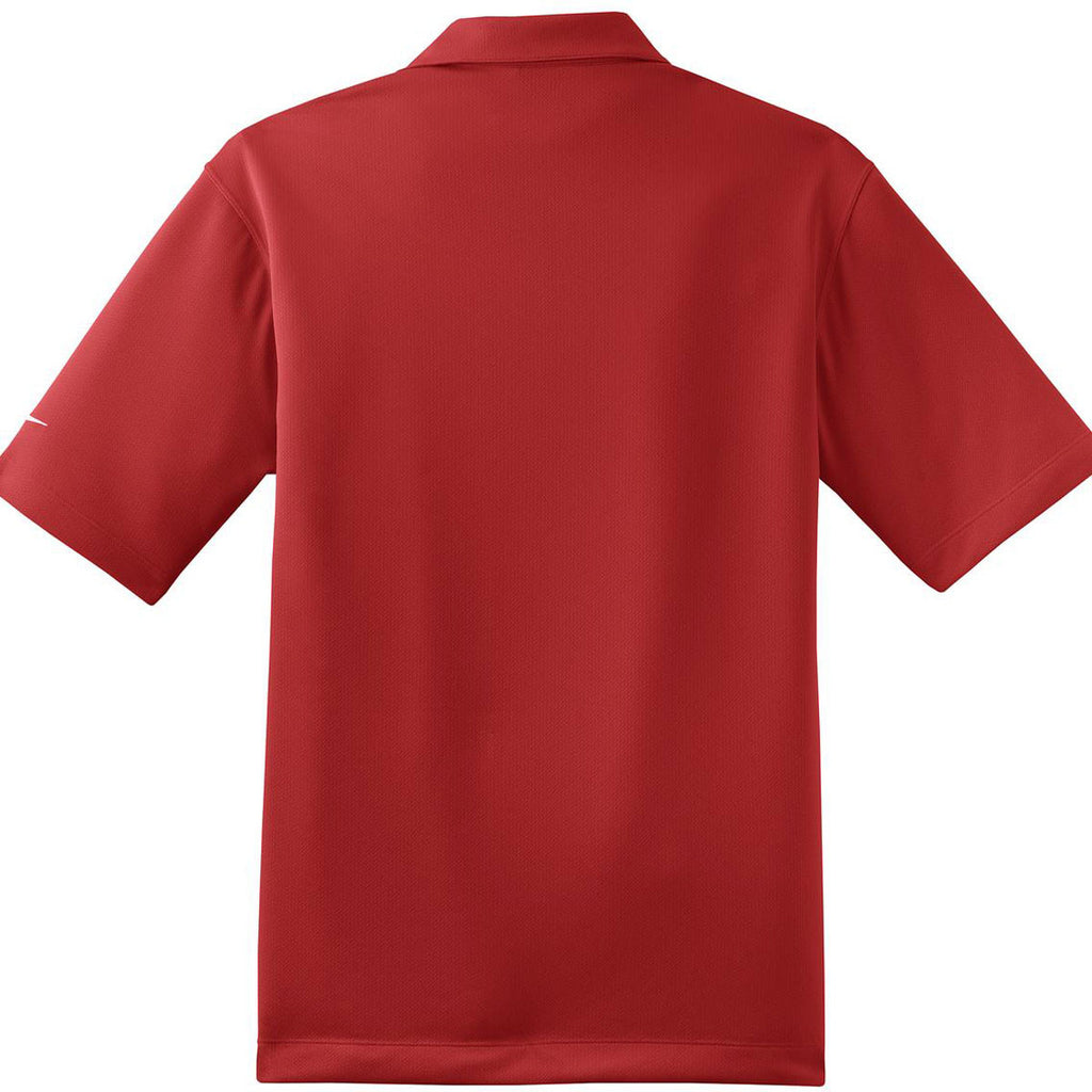 Nike Men's Red Dri-FIT Short Sleeve Pebble Texture Polo
