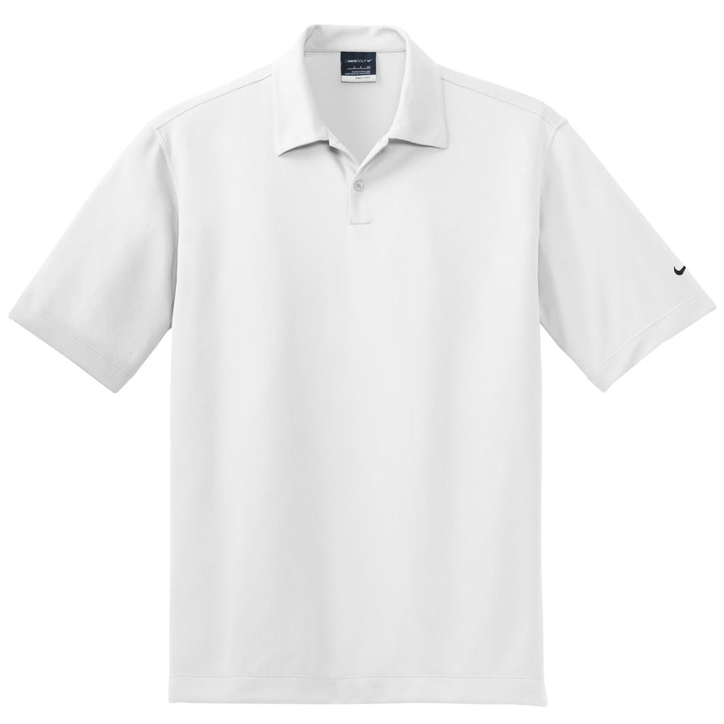 049c64cd Nike Men's White Dri-FIT Short Sleeve Pebble Texture Polo. ADD YOUR LOGO
