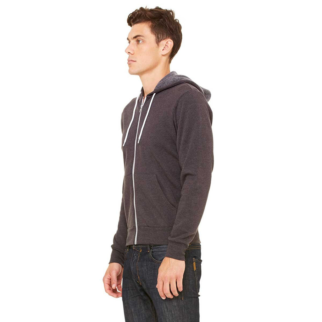 Bella + Canvas Unisex Dark Grey Heather Full-Zip Hoodie
