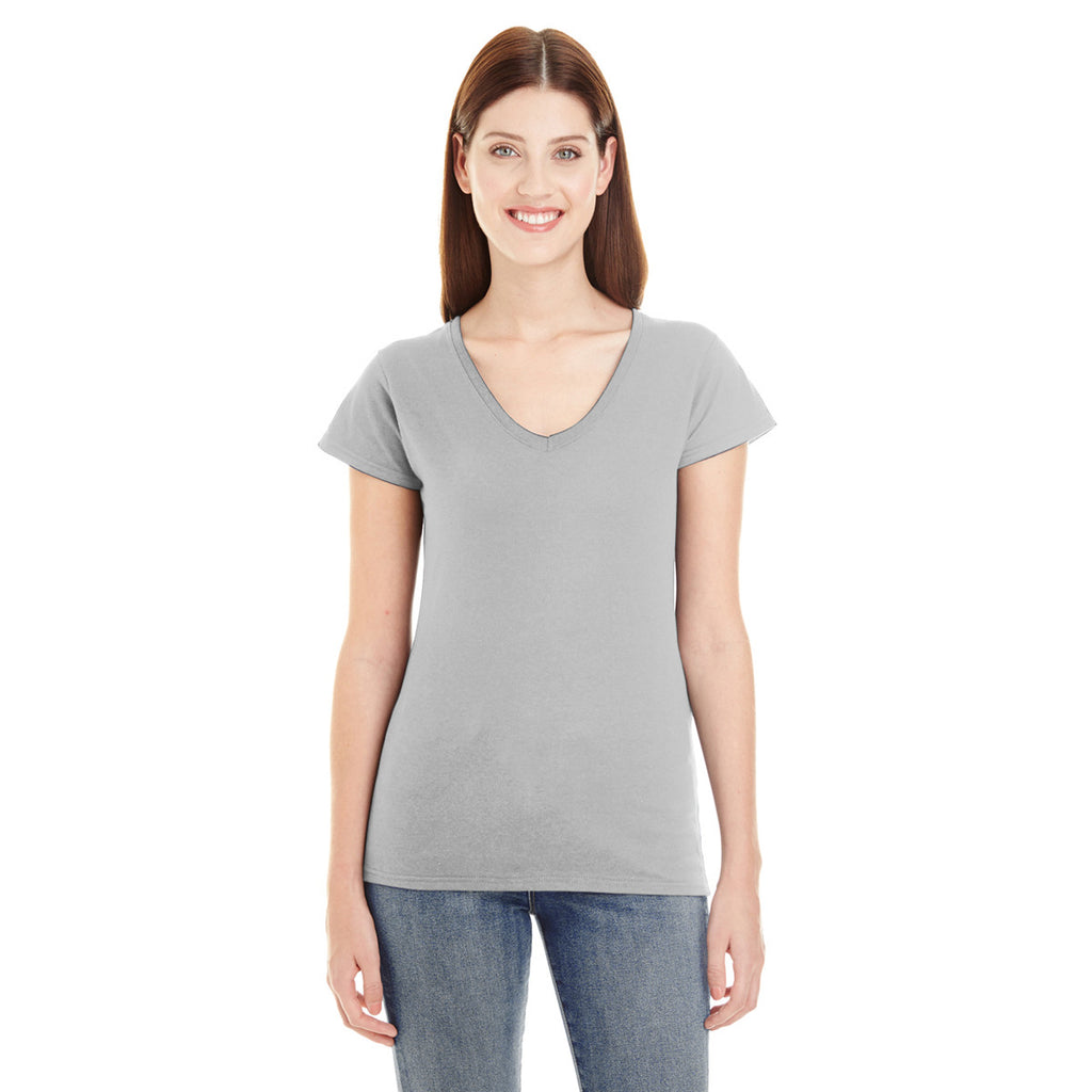 0cfa8d3471f Anvil Women s Heather Grey Lightweight Fitted V-Neck Tee. ADD YOUR LOGO