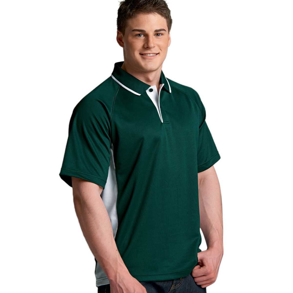 Charles River Men's Forest/White Color Blocked Wicking Polo