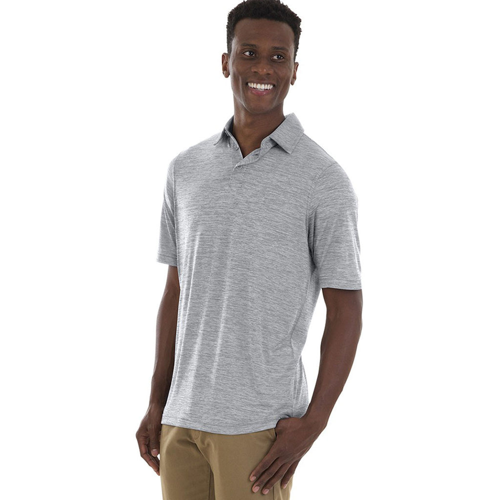 Charles River Men's Grey Space Dye Performance Polo