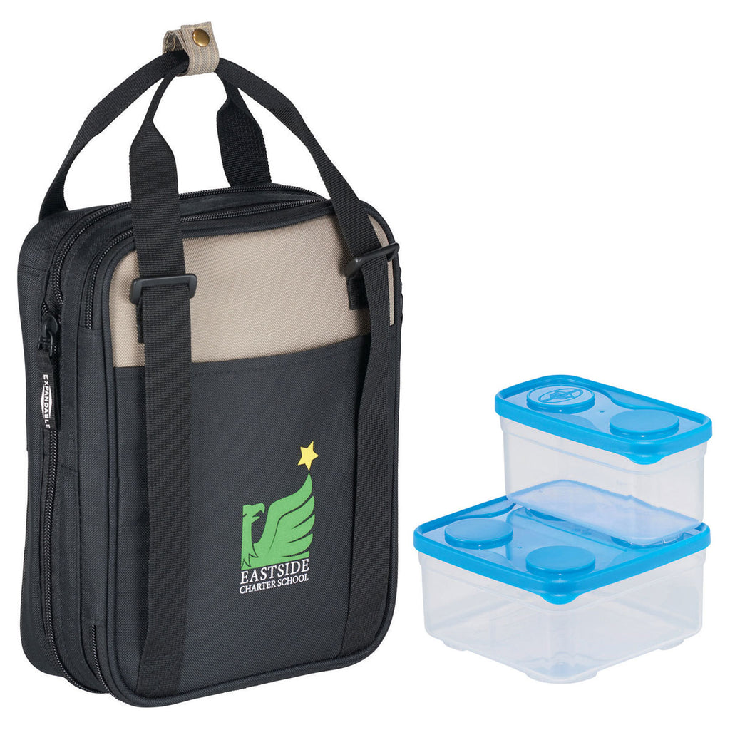 Arctic Zone Black Expandable Lunch Set with Containers