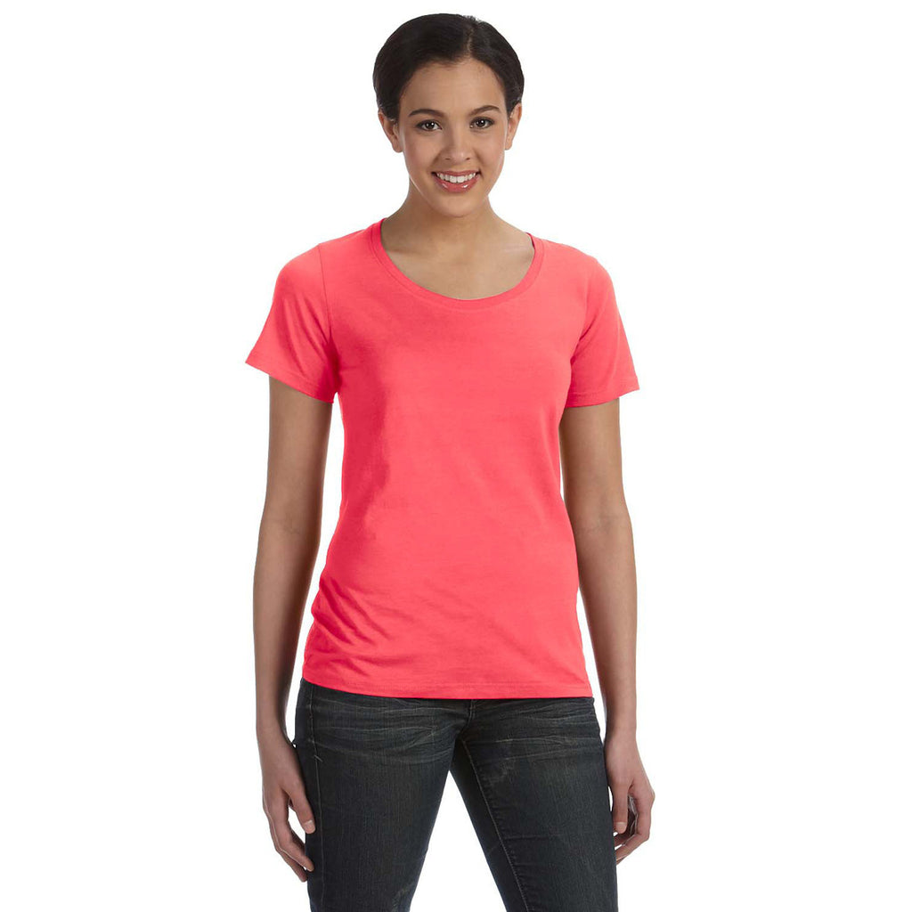Anvil women 39 s coral ringspun sheer featherweight t shirt for Coral t shirt womens