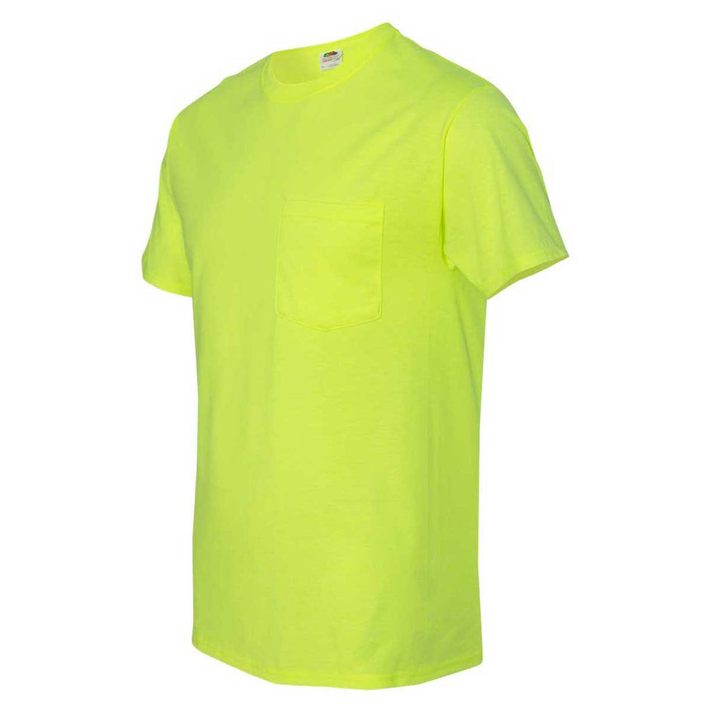 Fruit of the Loom Men's Safety Green HD Cotton T-Shirt with a Pocket