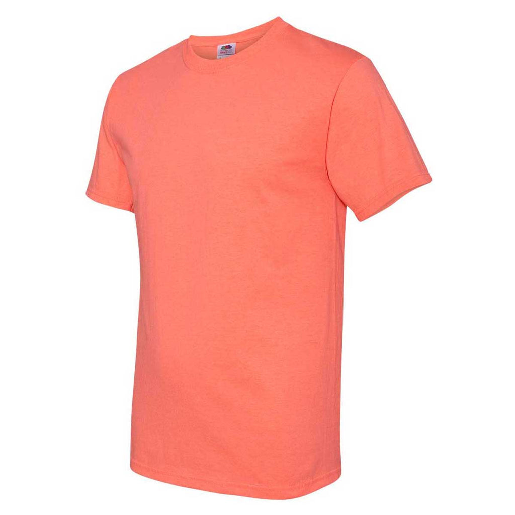 Fruit of the Loom Men's Retro Heather Coral HD Cotton Short Sleeve T-Shirt