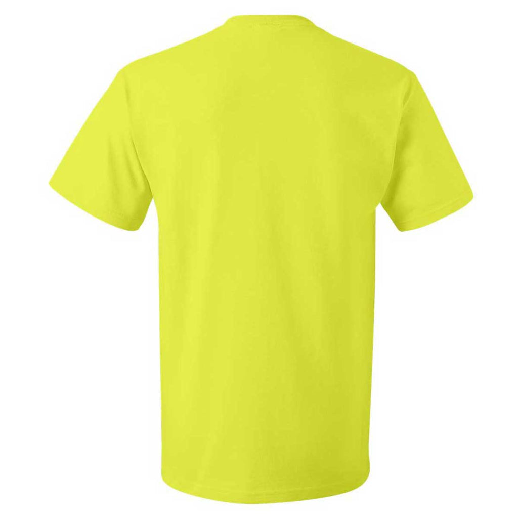 Fruit of the Loom Men's Safety Green HD Cotton Short Sleeve T-Shirt