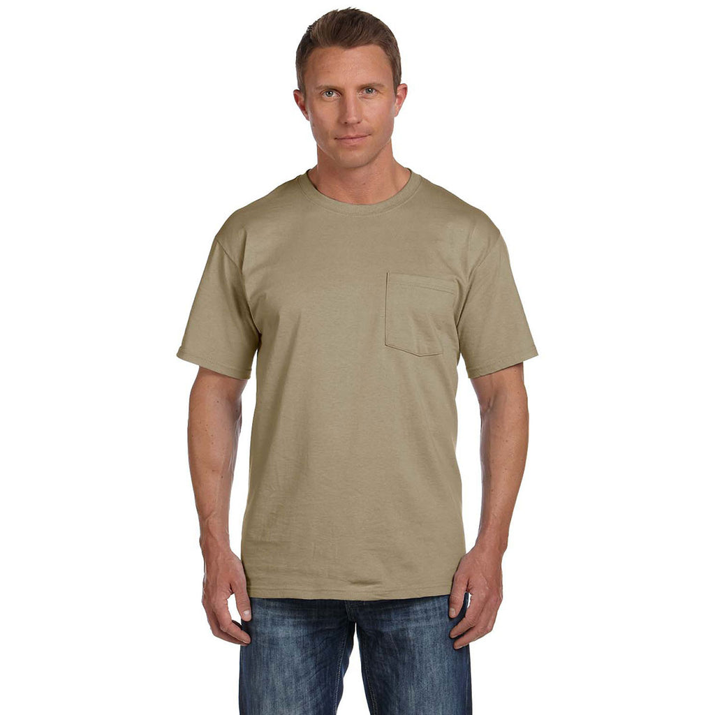 dc96f365 Fruit of the Loom Men's Khaki 5 oz. HD Cotton Pocket T-Shirt. ADD YOUR LOGO