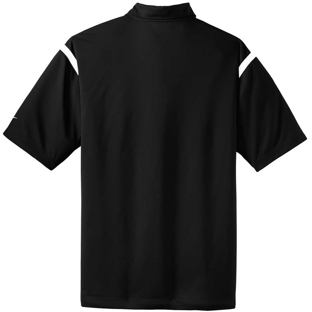 Nike Men's Black/White Dri-FIT Short Sleeve Shoulder Stripe Polo