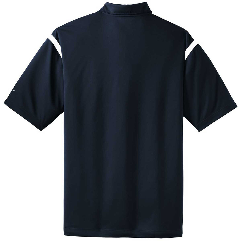 Nike Men's Navy/White Dri-FIT Short Sleeve Shoulder Stripe Polo