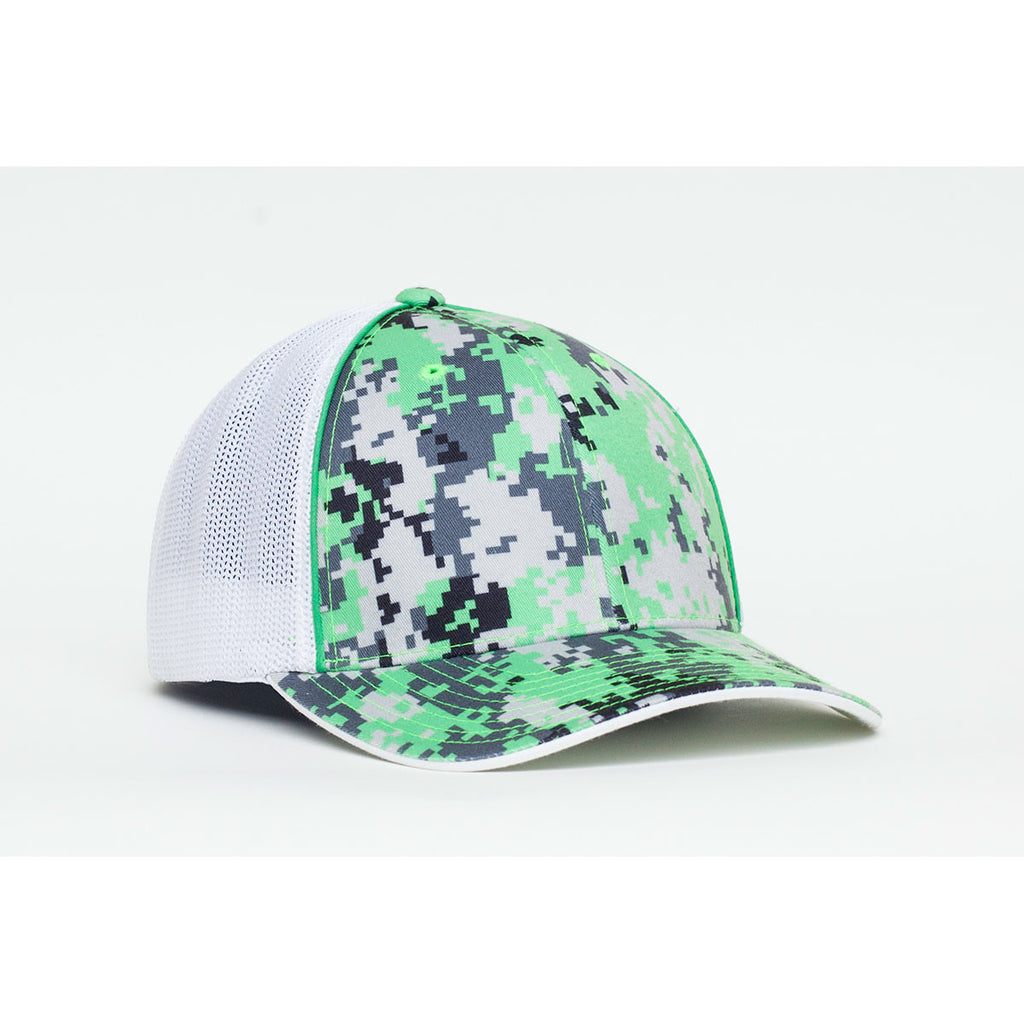 0a9b50e2384 Pacific Headwear Neon Green Digital Camo Trucker Mesh