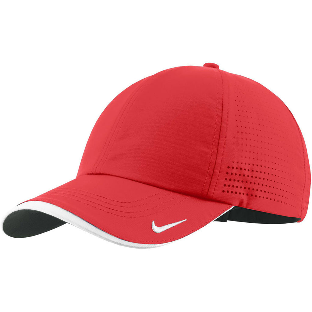 Nike Dri-FIT University Red Swoosh Perforated Cap. ADD YOUR LOGO 8ddb4b607f3