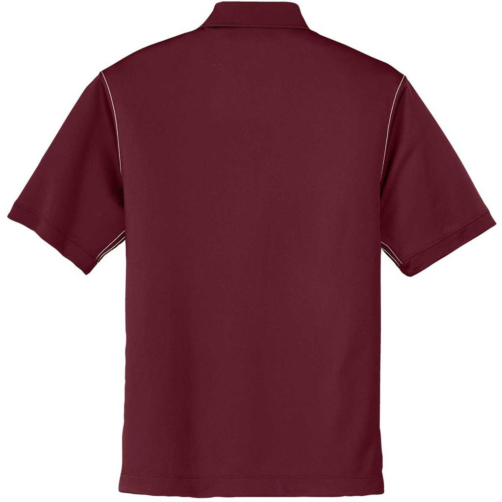Nike Men's Dark Red Dri-FIT S/S Sport Swoosh Pique Polo