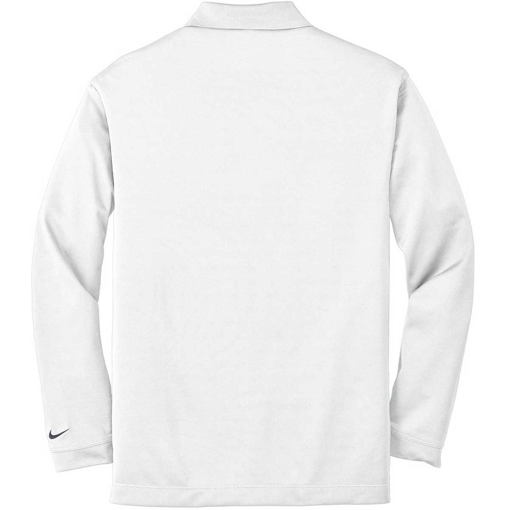 Nike Men's White Dri-FIT Long Sleeve Stretch Tech Polo