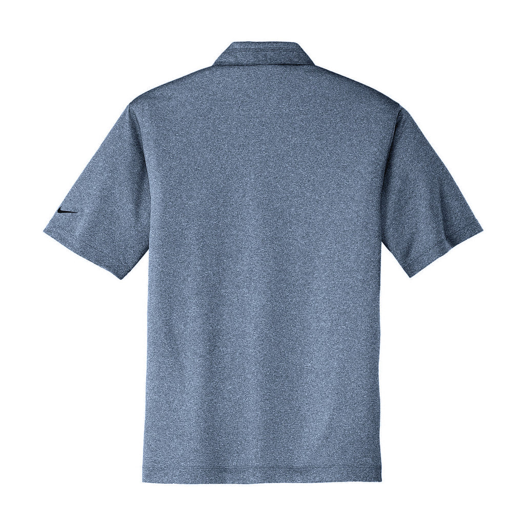 Nike Men's Grey/Navy Dri-FIT S/S Heather Polo