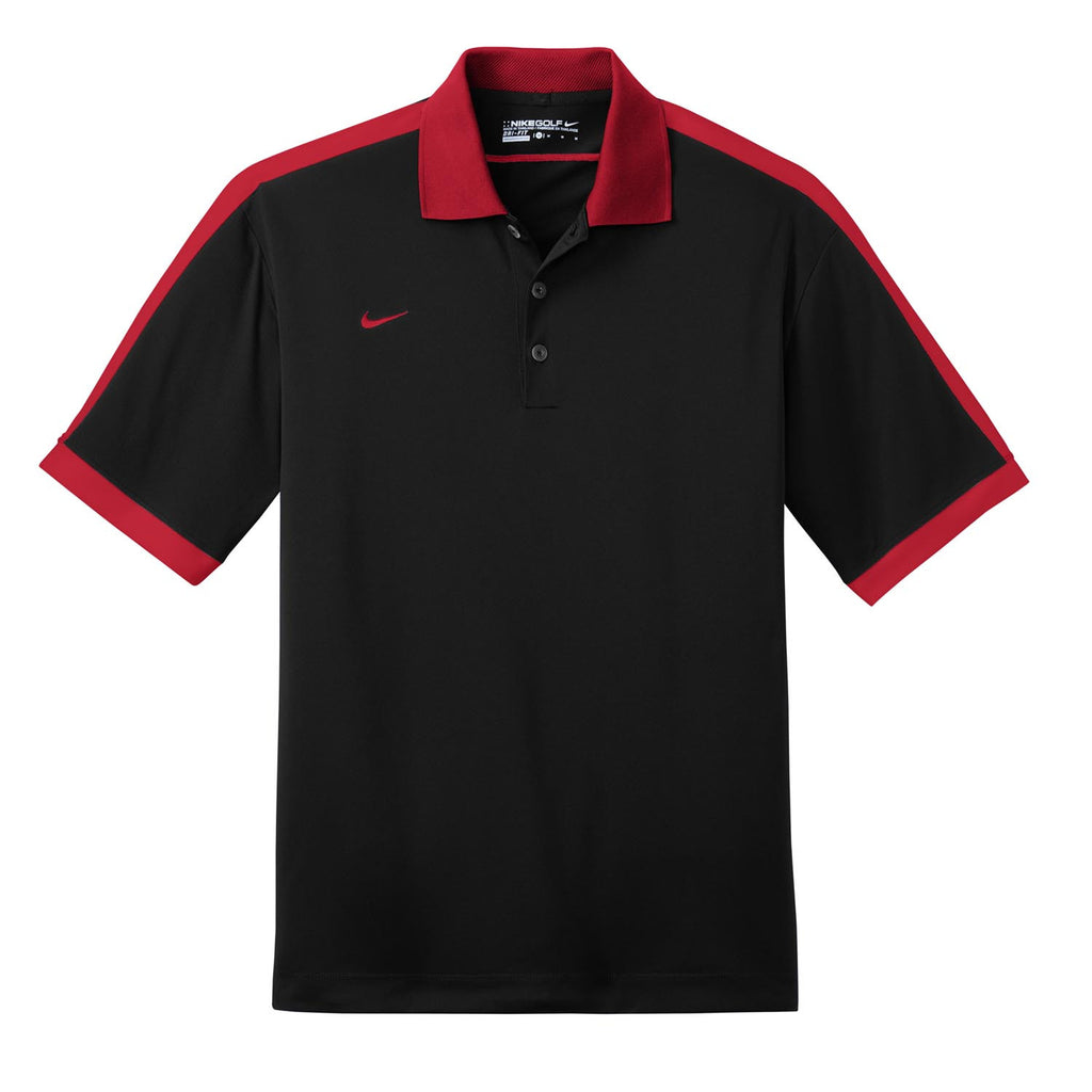 Nike golf men 39 s black red dri fit n98 polo for Nike cotton golf shirts