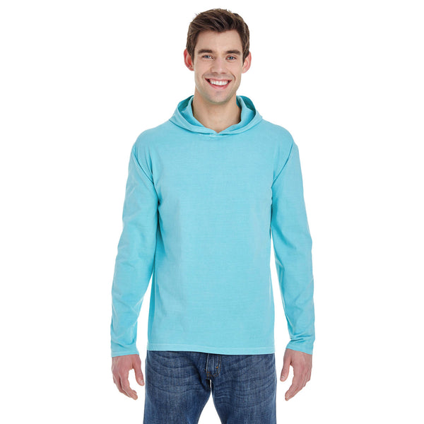 Comfort Colors Men S Chambray 6 1 Oz Long Sleeve Hooded T