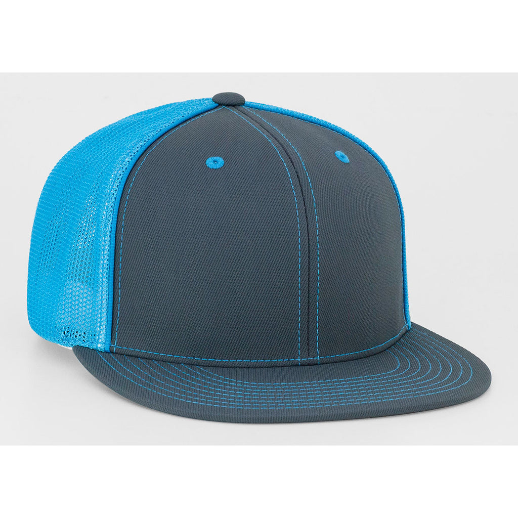 6f8fc374 Pacific Headwear Graphite/Neon Blue D-Series Fitted Trucker Mesh Cap