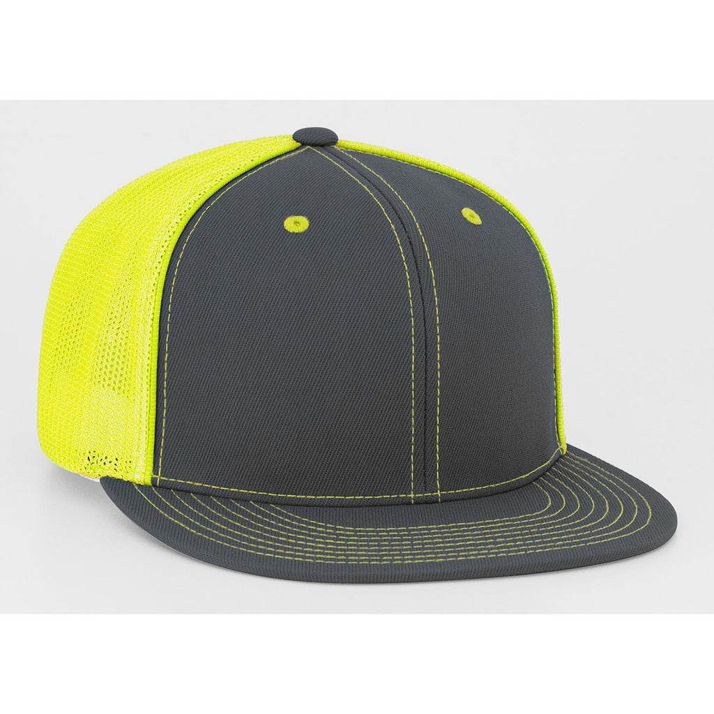 Pacific Headwear Graphite Neon Yellow D-Series Fitted Trucker Mesh ... 6b24b07a73e