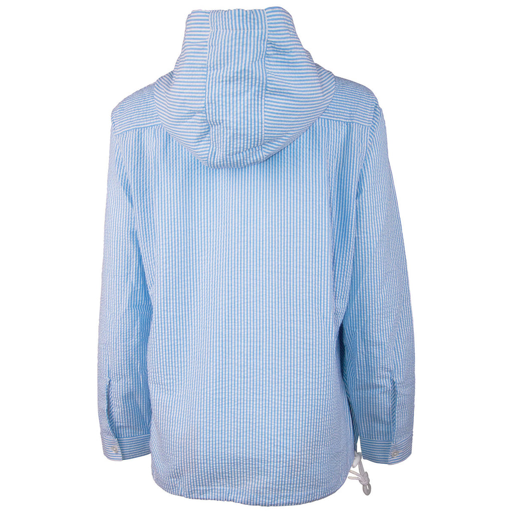 Charles River Women's Blue seersucker Bar Harbor Pullover