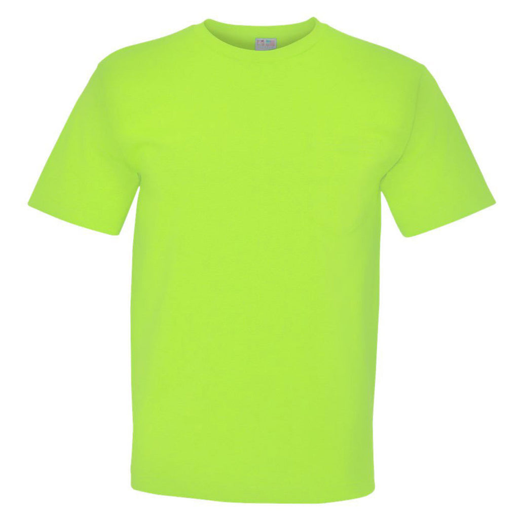 Bayside Men's Lime Green USA Made Short Sleeve T Shirt with Pocket