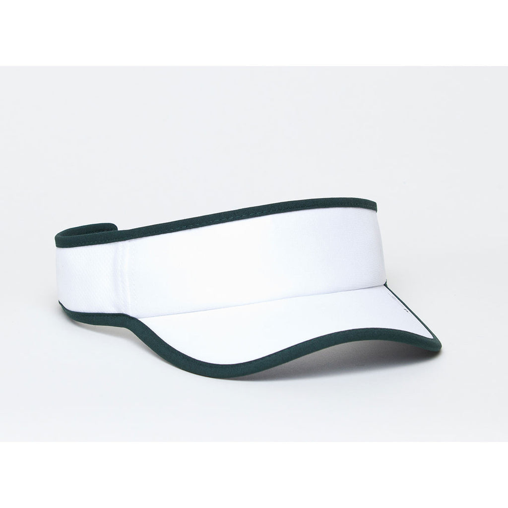 Pacific Headwear White Dark Green Lite Series All-Sport Active Visor fb4cc4b38f0