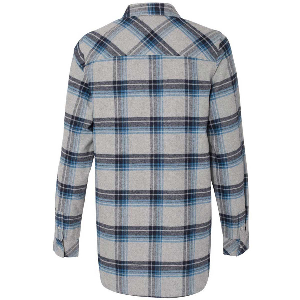Burnside Women's Grey/Blue Yarn-Dyed Long Sleeve Flannel Shirt