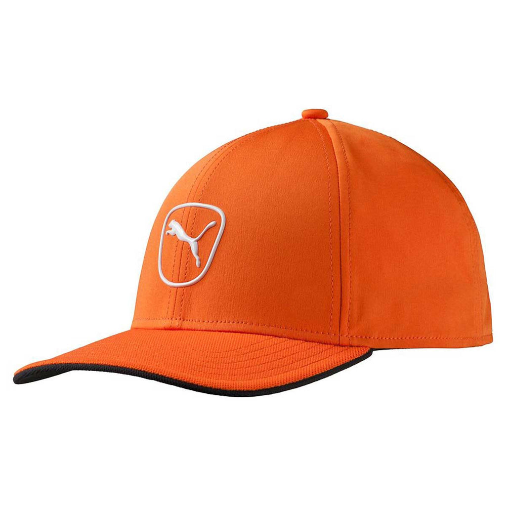 Puma Golf Vibrant Orange White Cat Patch 2.0 Adjustable Cap 5eba6be174f