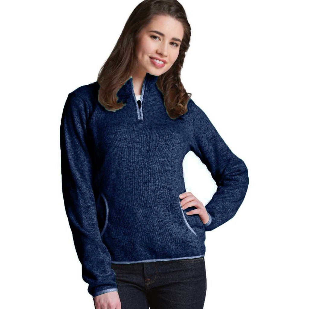 Charles River Women's Navy Heather Heathered Fleece Pullover