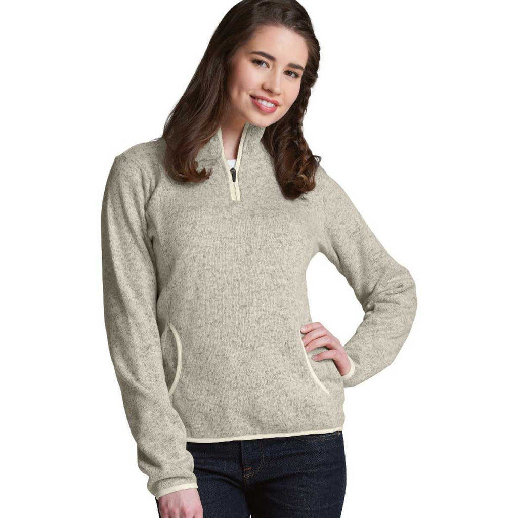 Charles River Women's Oatmeal Heather Heathered Fleece Pullover
