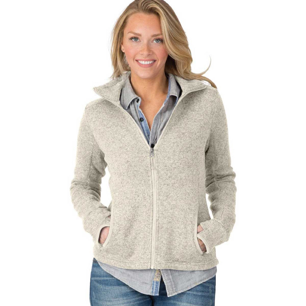 Charles River Women's Oatmeal Heather Heathered Fleece Jacket