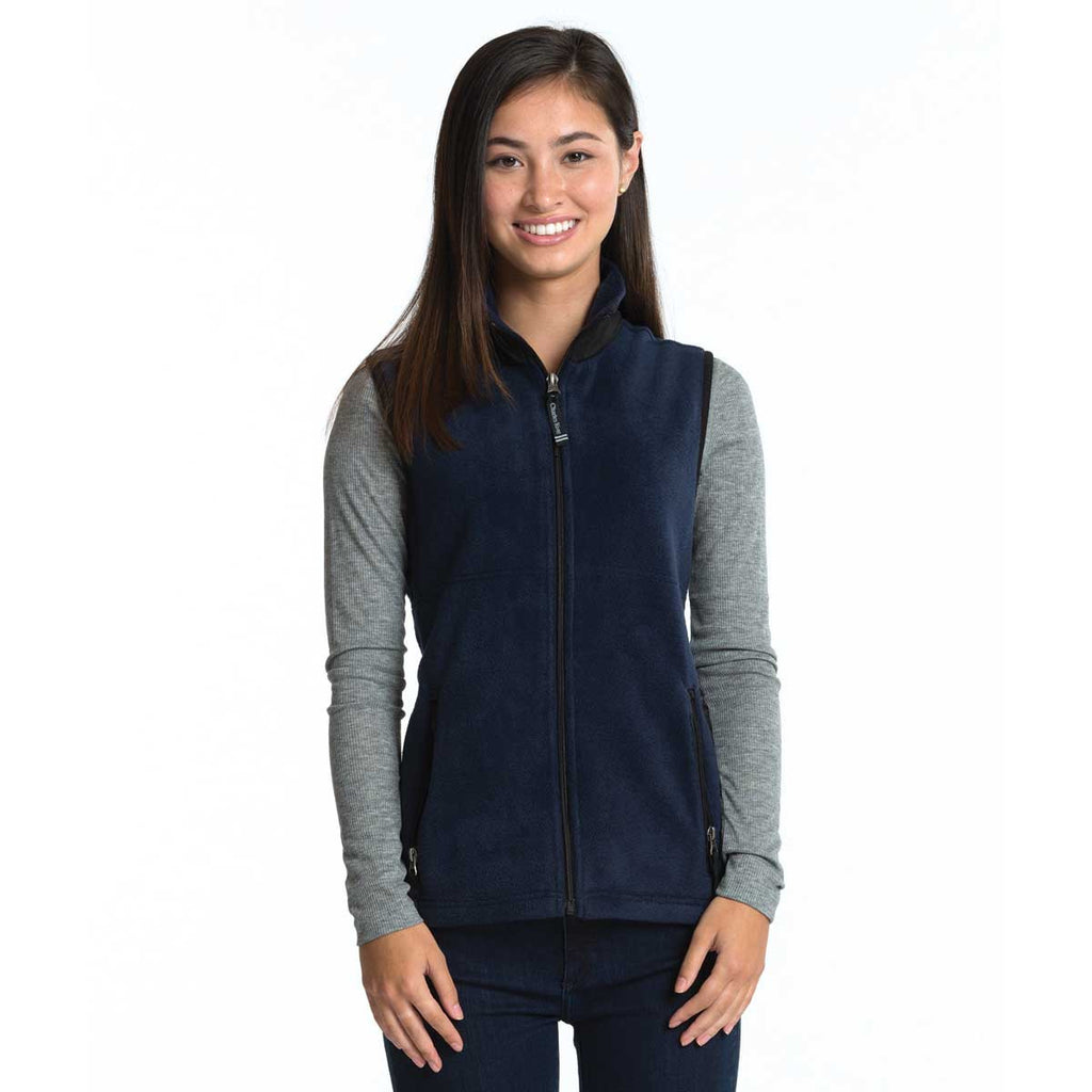 Charles River Women's Navy/Black Ridgeline Fleece Vest