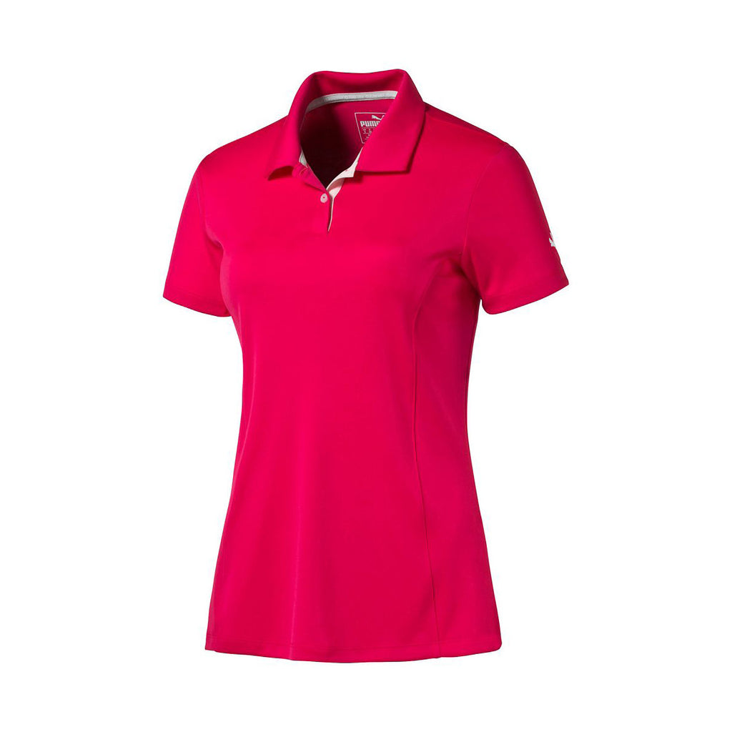 eaeb93706a Puma Golf Women s Rose Red Pounce Golf Polo Cresting