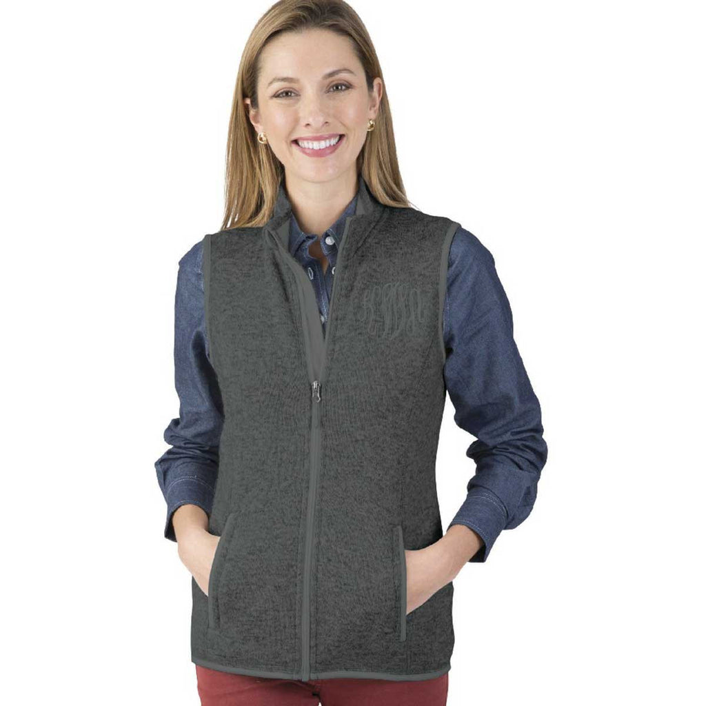 Charles River Women's Charcoal Heather Pacific Heathered Fleece Vest