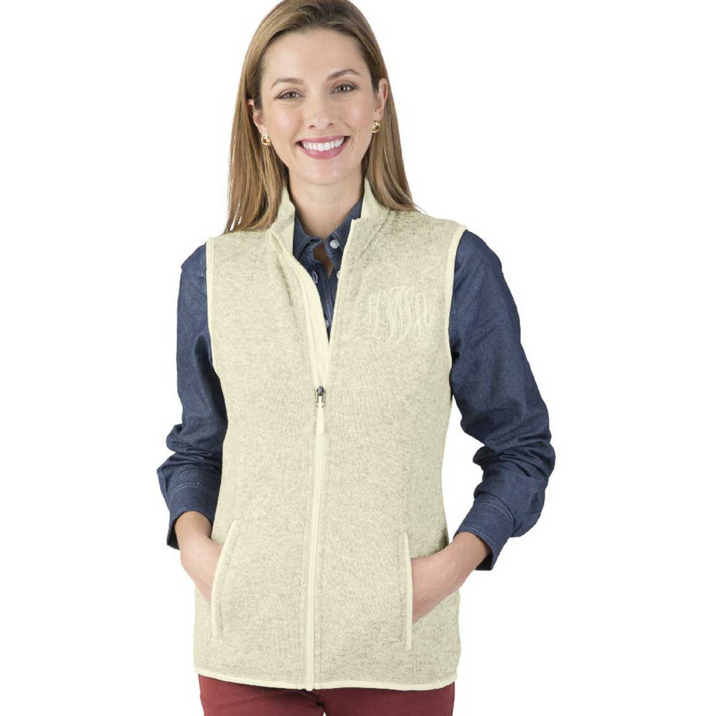 Charles River Women's Ivory Heather Pacific Heathered Fleece Vest